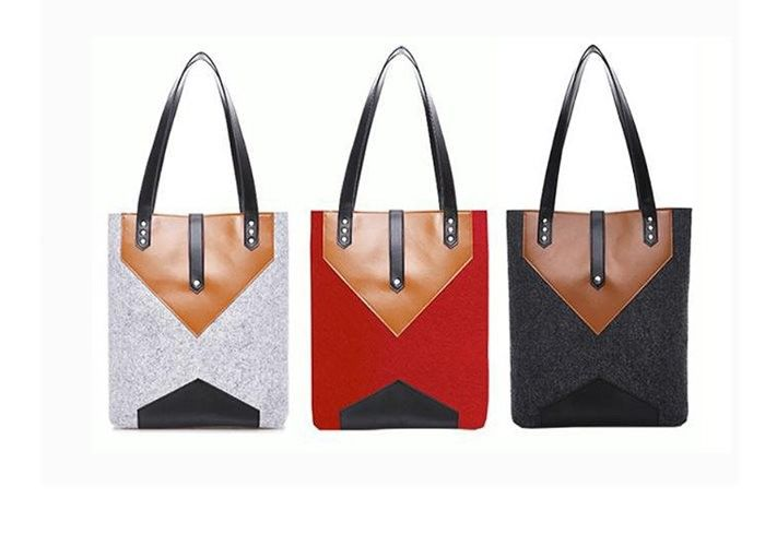 33*36 Cm Felt Leather Bag , Lightweight Easy Carrying Felt And Leather Bag