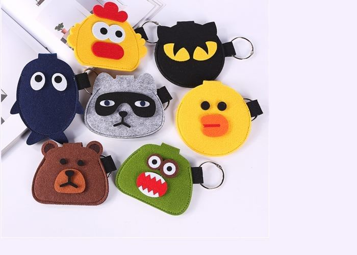 Cute Carton Pattern Felt Coin Bag , 10*10 Cm Grey Felt Bag For USB Data Cable