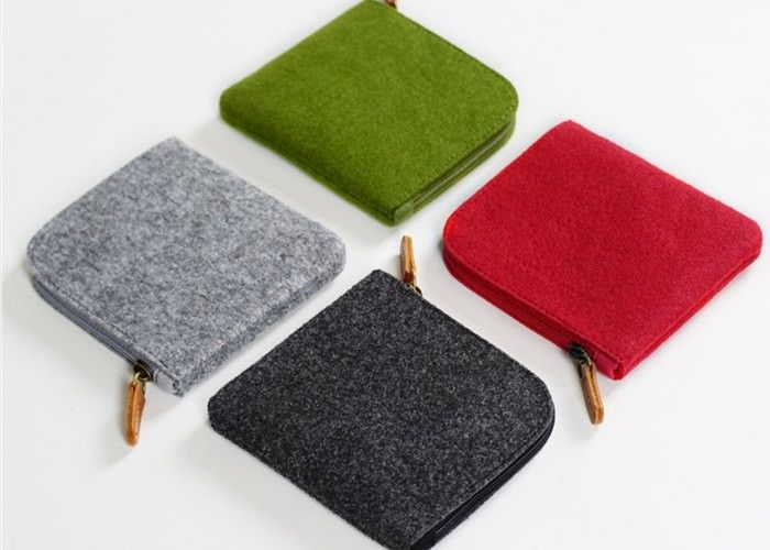 11*10*1cm Environmentally Friendly Felt Fabric Bags With Leather Zipper